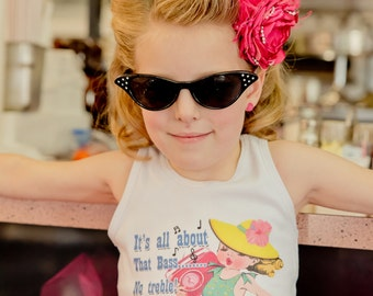 """Tank tee shirt one piece body suit tshirt Vintage inspired childrens tshirt """"It's all about that base no treble"""""""