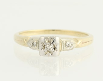 Art Deco Diamond Engagement Ring 14k Yellow White Gold Vintage Wedding Jewelry Unique Engagement Ring  N168