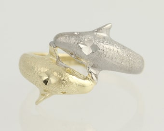 Dolphin Bypass Ring - 14k Yellow & White Gold Textured N614
