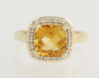 Citrine & Diamond Halo Ring - 14k Yellow Gold Orange Birthstone Women's 2.02ctw N1060