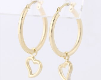 Heart Charm Hoop Earrings - 10k Yellow Gold Pierced MQ2208