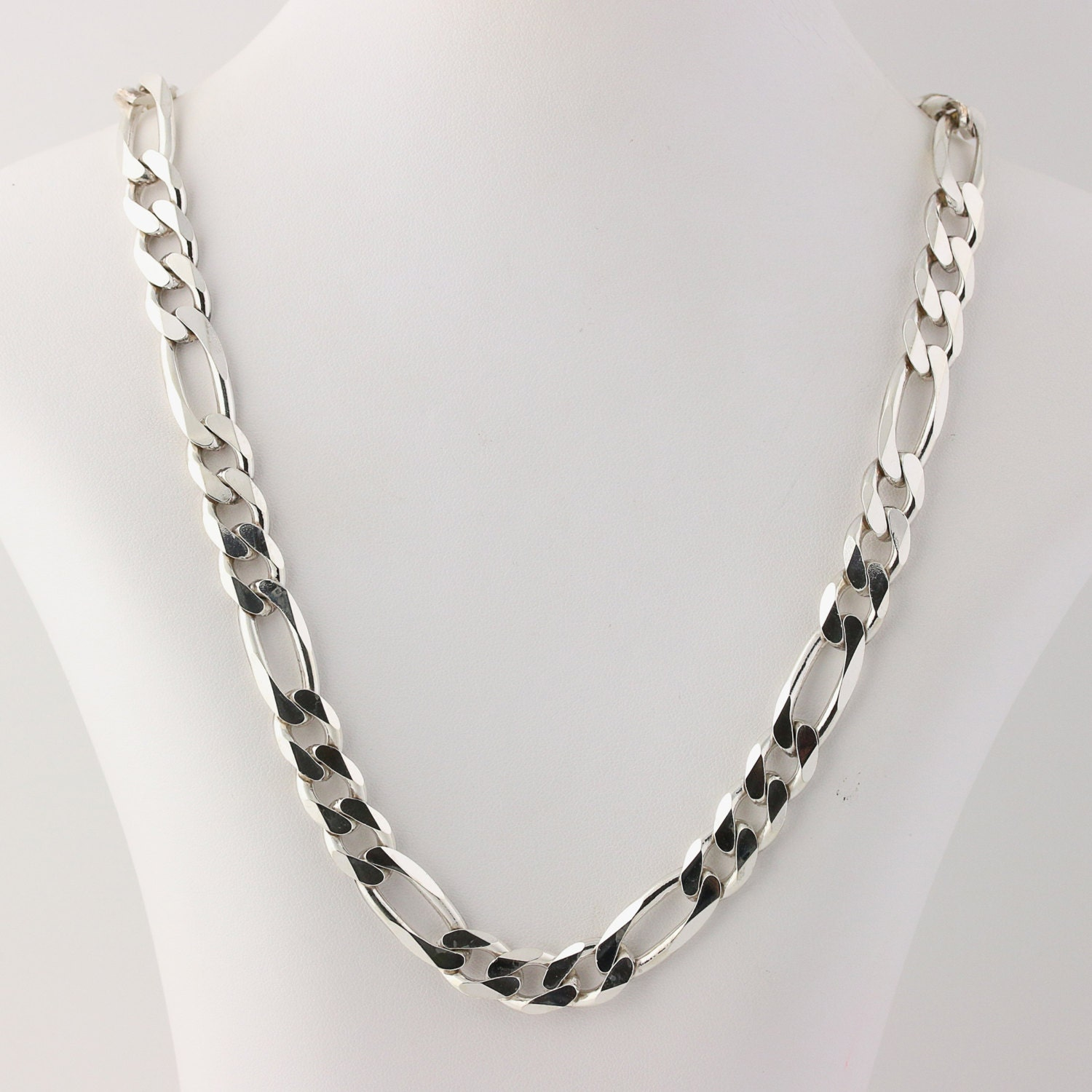 s large figaro chain necklace sterling silver heavy