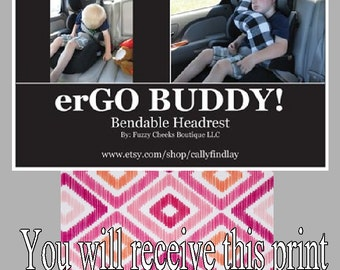 erGO BUDDY Bendable baby / toddler headrest carseat pillow and cover in Pink And Orange Tribal