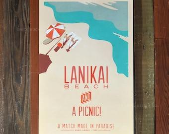 Lanikai Beach - 12x18 Retro Hawaii Travel Print