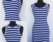 Maxi Dress In Blue And White Nautical Stripes