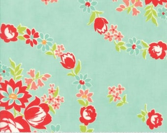 Bonnie & Camille, HANDMADE Collection, 'June in Aqua' Quilt Fabric, 55140 12, Moda Fabric Beautiful Large Scale Aqua with Red and Pink