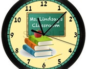 Personalized Teacher Wall Clock Classroom Gift Decor Books School