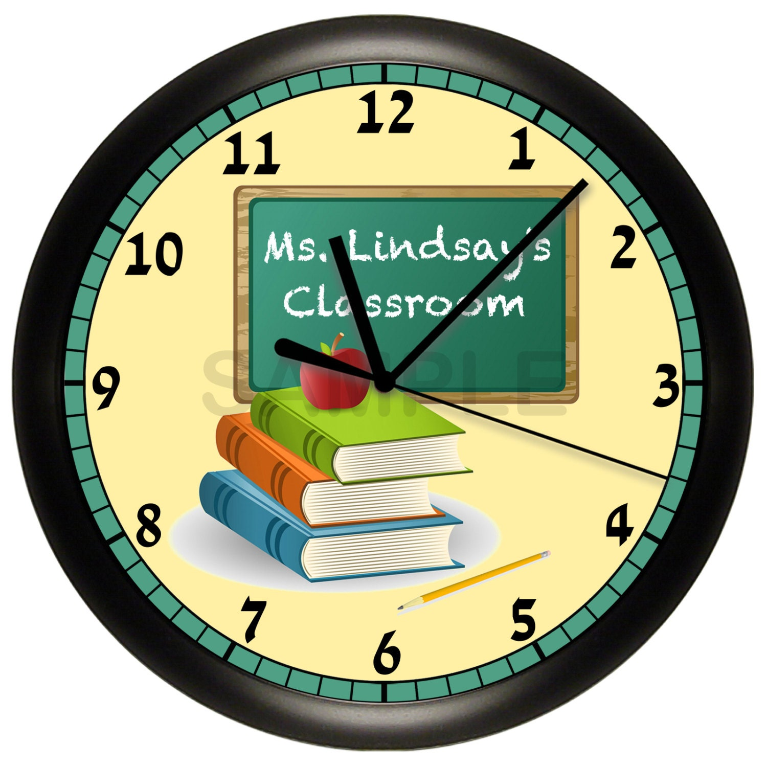 Personalized Teacher Wall Clock Classroom Gift Decor Books