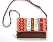 SALE Leather Tribal Print Foldover Clutch Bag