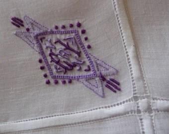 Vintage monogram  embroidered hankie Hanky