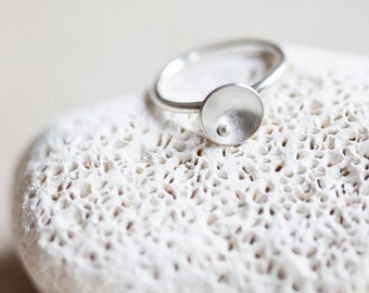 Sterling Silver Stack Ring - Circles and Pearls Stackable Ring - Modern Jewelry Inspired by Nature
