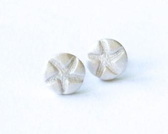 White Pearl Starfish Clay Earrings