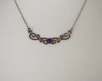 Vintage sterling silver and purple stone swirl necklace