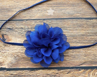 Blue headband, baby elastic headband, baby headband, infant headband, newborn headband, elastic headband, baby girl headband, hair clip