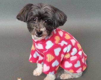 Dark Pink Dog Pajamas with Hearts