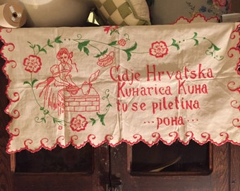 Antique 30s Finnish estate find pillow cover hand embroidered so charming Finland pr with old quilt ! Holiday decorating SALE!