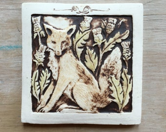 Fox with thistles 4x4 inch handmade ceramic tile in brown, olive, and orange-brown