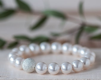 Pearl Wedding Bracelet Bridal Bracelet Pearl Bracelet Wedding Jewelry Bridesmaid Bracelet White Pearl Bracelet Bridal Pearl Bracelet