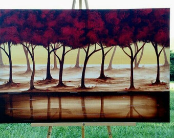 Tree Painting, Red Painting,Abstract Painting,Red Tree, Original Painting on Canvas, Landscape Painting,  36x24 Heather Day #1