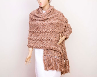 Wrap,Knitted shawl,cable patterned ,wrap ,knitted wrap  cowl shawl Bridel gift shawl shrug capelet  ,in CAMEL. With COLOR OPTION aviable
