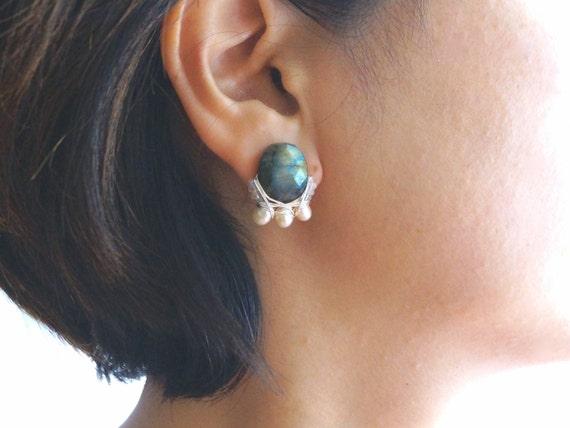 Labradorite earrings - wire wrapped cluster big stud earrings - 14k gold filled