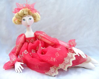 ART DOLL red and gold jointed handmade cloth doll  soft sculpture