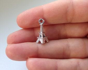 20 Eiffel Tower Charms, 3D Silver Eiffel Charm, Eiffel Pendant  P 30 056