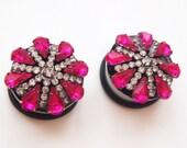 """1"""" 25mm  Deep Pink Fancy Lady Rhinestone Plugs-steel classy Wedding Prom custom pretty 316L gauges girly"""