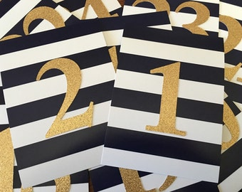 Navy & White Striped with Gold Glitter Table Numbers