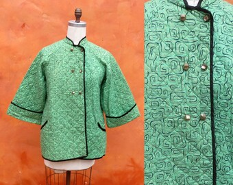 Vintage 1940s 1950s Bed Jacket. Quilted Housecoat.  Asian style robe coat Cheongsam jacket flared sleeves. Green Black. Katherine Hepburn