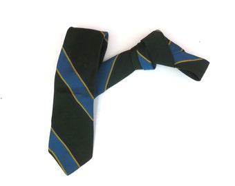 Vintage 1950s 1960s Mod Skinny Neck Tie - Yellow Bright Blue Dark Green Diagonal Stripes