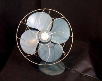 1950s Electrex Oscillating Fan, aqua blue