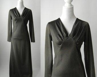 Vintage Dress, 70s Maxi Dress, Vintage Maxi Dress, Grey Long Dress, 1970s Grey Dress, 1970s Party Dress, 1970s Lounge Dress, Vintage Lounge