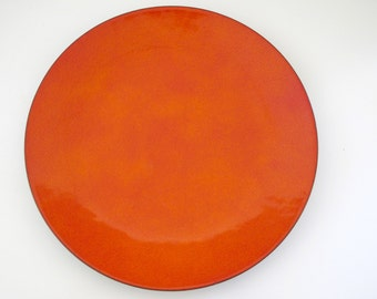 "Vintage Annemarie Davidson Modernist 11"" Orange Enamel Dish"