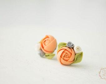 Ivory Orange Ranunculus flower stud earrings girls small hypoallergenic studs weddings bridal valentine'smother's day bridesmaid gifts
