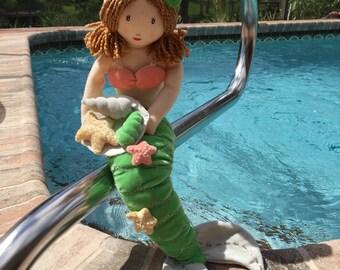 Hand Crafted Plush Beaded Mermaid Sculpture Sea Shells