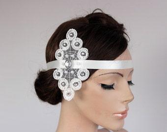 Bridal Flapper Head Piece, Off White Lace Queen Tiara, Lace Arm Cuff, Rhinestone, Satin Headband Modern Wedding Uique Design