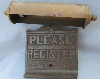 Antique Register Here, Cast Iron Plaque, Lamp
