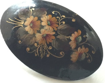 Hand Painted Floral Russian Wood Cabochon Brooch Vintage lot 860