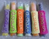Ice Pops, Freezer Pops Cozy Holders, no finger freeze holder (choose 2 or more)