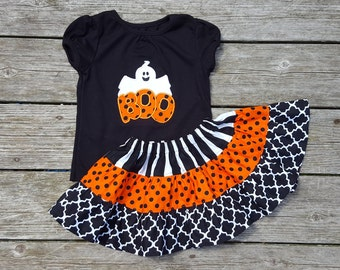 Girls Skirt and Shirt Outfit -  Tiered Halloween Skirt with Cute Boo Applique Shirt