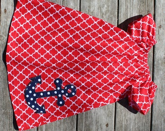Spring 2016 Girl's Toddlers Red Quatrefoil with Anchor Applique Peasant Dress