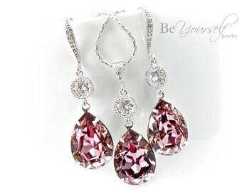 Mauve Bridal Earrings Dusty Pink Teardrop Bride Necklace Swarovski Crystal Antique Pink Wedding Jewelry Bridesmaid Gift Vintage Pink Earring