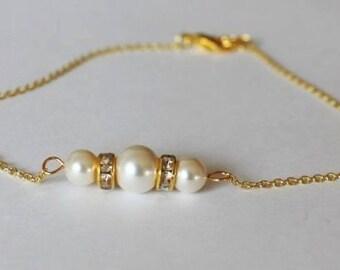 Gold bridesmaid pearl bracelet, Three pearl bracelet, Rhinestone bracelet, triple pearl bracelet, Gold pearl bracelet