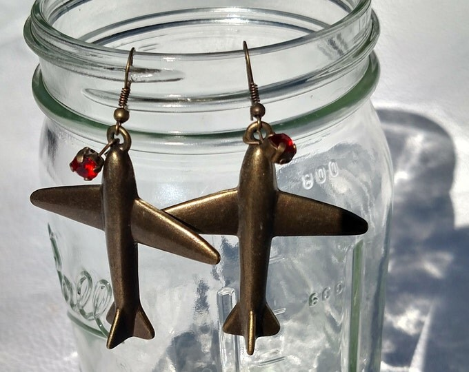 Vintage Reproduction Brass Airplane Earrings