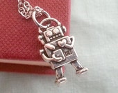 Robot Necklace, Silver Robot Pendant, Robot Charm, Cute Robot, Geek Jewelry, Whimsical Necklace, Nerd Necklace