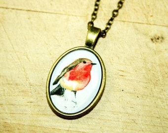 Little Robin watercolour Necklace bronzecolored  -twin sister best friend daughter mother gift jewelry