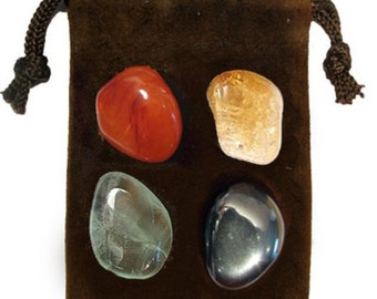 CLEANSING - Meditation Stone Set Crystal Healing Gemstone Kit, Tumbled Gemstone Healing Set, 4 Stones, Pouch, Card