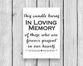 Memorial Candle Burns in memory of wedding relatives deceased reception decor digital print decor