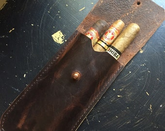 The General * Leather Cigar Case * Oil Tanned Bison Leather * Handmade in the USA * by Sorringowl & Sons